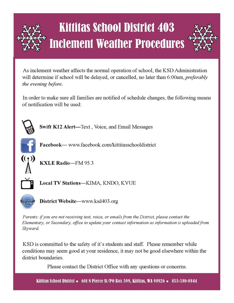 KSD Inclement Weather Procedures